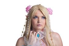 Free Young Girl In Fairy-tale Doll Cosplay Costume Stock Photography - 21296432