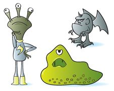 Free Cartoon Monsters Royalty Free Stock Images - 21296519