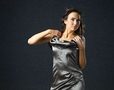 Free Woman In Grey Evening Dress. Stock Image - 21297131