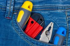 Free Set Construction Tools In Pocket Jeans. Royalty Free Stock Photo - 21297335