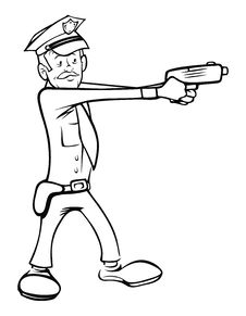 Free Policeman Shooting Outline Stock Photos - 21297463