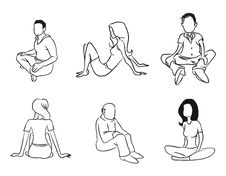 Free Sitting People Outline Royalty Free Stock Photography - 21297547