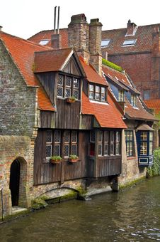 Classic View Of Channels Of Bruges Royalty Free Stock Images