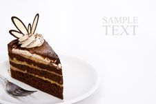 Three Layers Chocolate Cake Stock Photo