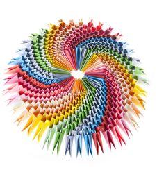 Bright Rainbow Modular Origami Close Up Stock Photography