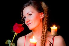 Beautiful Woman With Long Hair With A Red Rose And Stock Photos