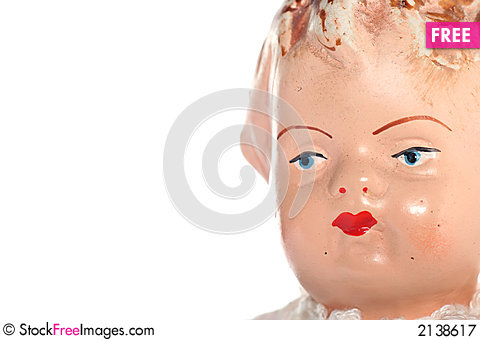 Free Old Abused Child Doll Face Royalty Free Stock Photography - 2138617