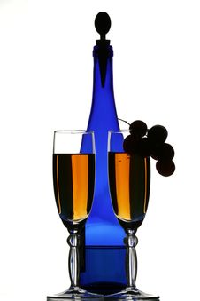 Free Blue Bottle Of Wine, Glasses A Stock Photography - 2132922