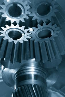 Free Gear-mechanism In Blue Royalty Free Stock Photography - 2133547
