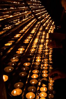 Burning Candles Inside A Cathe Stock Photo