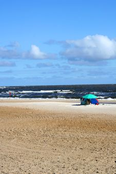 Beach With Tent Royalty Free Stock Photography