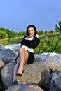 Free Girl Sitting On Rocks Royalty Free Stock Image - 21302116