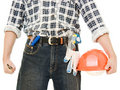 Free A Worker With Helmet In Hand. Royalty Free Stock Photo - 21309595