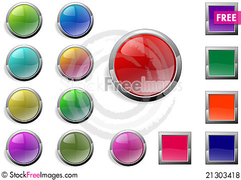 Free Web Buttons Royalty Free Stock Photos - 21303418