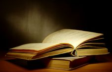 Free Old Books On The Table Royalty Free Stock Photos - 21300938