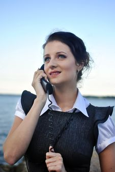 Free Girl With A Telephone Receiver In Hand Royalty Free Stock Image - 21301866