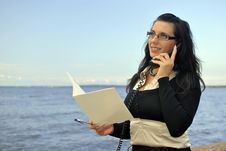 Free Girl With A Telephone Receiver In Hand Stock Photo - 21301990