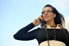 Free Girl With A Telephone Receiver In Hand Royalty Free Stock Photo - 21302005
