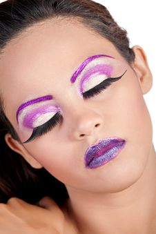 Free Asian Female With Purple Makeup Royalty Free Stock Photography - 21303047