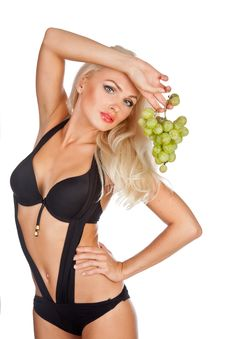 Free Blonde  Eating Grapes Stock Image - 21303591