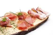 Ham On Wooden Board Royalty Free Stock Image