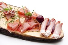 Ham With Herbs And Cherry Stock Images