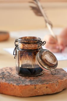 Ink Well And Quill Pen