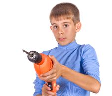 Free Boy With A Drill Royalty Free Stock Image - 21304736