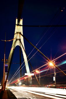 City Car Bridge At Night Stock Image