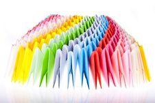 Bright Rainbow Modular Origami Close Up Stock Photo