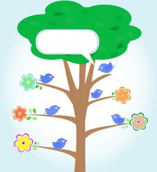 Free Greeting Card With Birds Under Tree Vector Stock Photos - 21305563