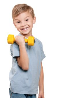 Free Boy With Dumbbells Stock Photo - 21305630