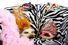 Free Bright Masquerade Masks On Retro Chair Royalty Free Stock Photography - 21305777