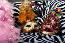 Free Bright Masquerade Masks On Retro Chair Royalty Free Stock Image - 21305976