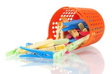 Color Clothes-pegs Royalty Free Stock Images