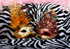 Free Bright Masquerade Masks On Retro Chair Royalty Free Stock Image - 21306006