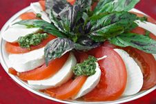 Free Vegetables Salad With Tomato And Mozzarella Stock Images - 21306074