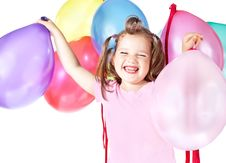 Free Girl With Balloons Stock Photography - 21306102