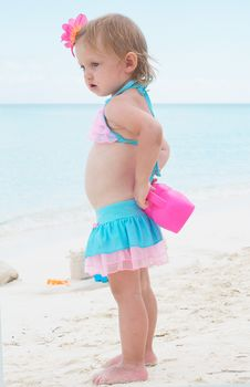 Free A Baby Girl On The Beach Royalty Free Stock Images - 21306589