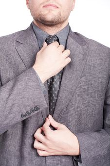 Free Businessman Fixing His Tie Royalty Free Stock Photography - 21306997