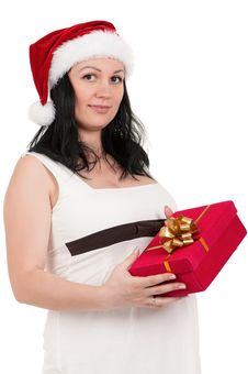 Free Pregnant Woman With Gift Box Royalty Free Stock Images - 21307839
