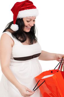 Free Pregnant Woman With Shopping Bags Stock Photos - 21307863