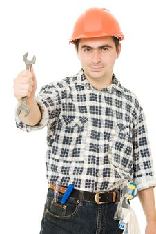 Free Successful Worker In A Helmet Royalty Free Stock Photos - 21309538