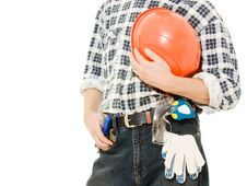 Free A Worker With Helmet In Hand. Stock Photos - 21309573