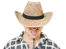 Free Cowboy Hat Pulled Down Over His Eyes. Stock Photos - 21309723