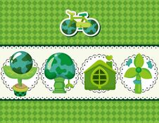 Free Cartoon Eco Card Royalty Free Stock Photo - 21309725