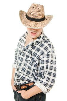 Free Cowboy Hat Pulled Down Over His Eyes. Stock Photography - 21309742