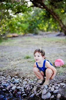 Free Toddler Girl At Creek Royalty Free Stock Photo - 21310835