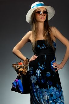 Free Glamor Woman With Yorkshire Terrier Stock Image - 21311391