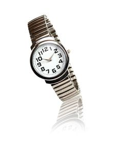 Free Steel Wristwatch On White Royalty Free Stock Photos - 21313518